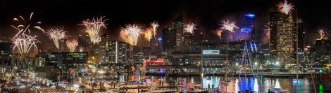 2015 new years eve fireworks melbourne stock image
